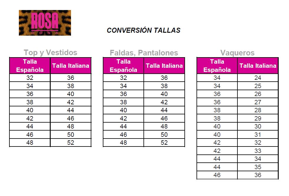 tabla conversión talla española e italiana
