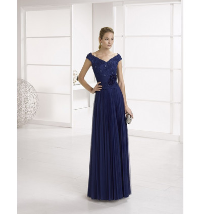 Vestido MARFIL de fiesta largo azul noche